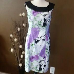 AGB white/black/lilac pattern dress sz 8 NWOT